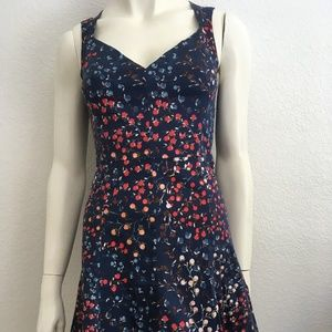 French Connection cotton fit and flare dress blue